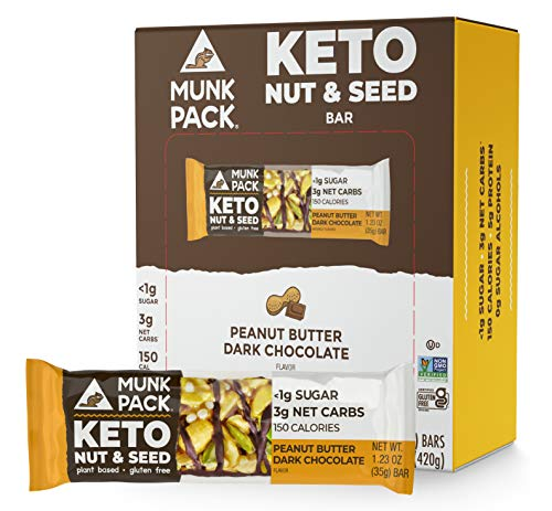 Munk Pack Keto Nut & Seed Bar, <1g Sugar, 3g Net Carbs, Keto Snacks, No Added Sugar, Plant Based, Gluten Free, Soy Free (Peanut Butter Dark Chocolate 12 Pack)