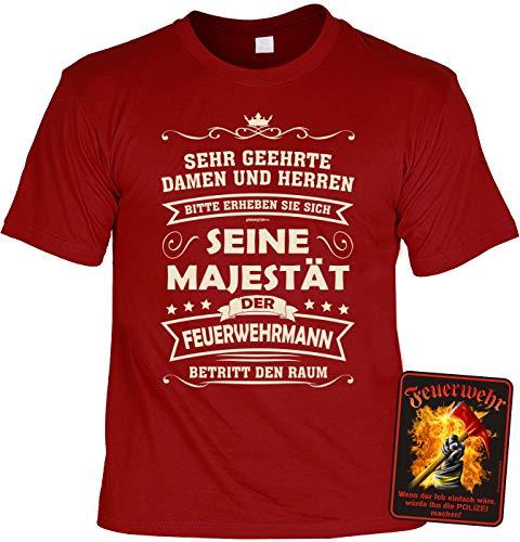 Tini - Shirts Feuerwehr Geschenk -Set - lustiges Feuerwehrshirt - Feuerwehr-Sprüche Schild : Majestät der Feuerwehrmann - Raum & Polizei - Blechschild - Deko Feuerwehr Gr: XXL