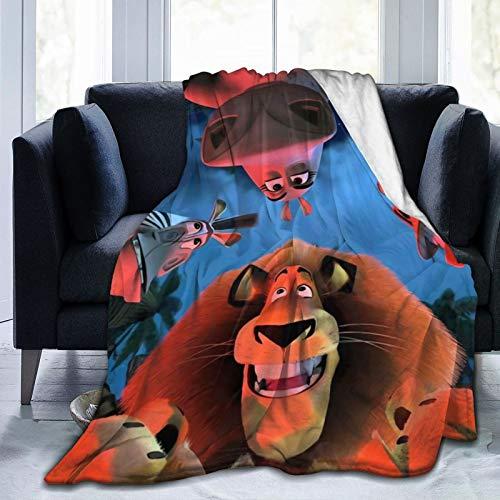 Isabelle & Emilie Flannel Blanket- Madagascar- A Little Wild Animel Super Soft Cozy Warm Blanket Light Weight Blanket Bed Couch Living Room