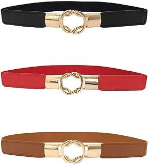 3 Piezas Cinturón Flaco de Mujeres Banda Estirable Elástico Retro Con Bucle de Metal para Vestido (Negro+Rojo+Marrón)