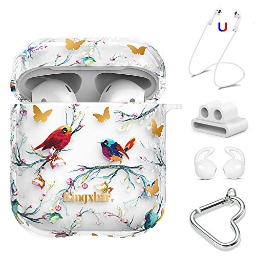 KINGXBAR AirPods Case Cover Cute 5 in 1 with Bling Crystal from Austria for Apple AirPods 2 & 1 Protective Bird Design Hard PC Skin Case with Keychain/Anti-Lost Strap/Earhooks