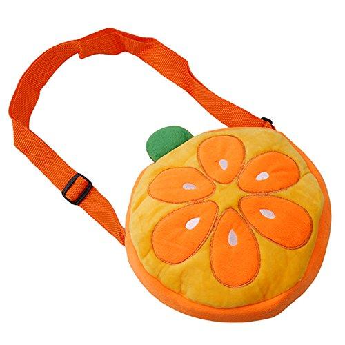 ODN Sac à bandoulière en forme de dessin animé sac à glissière en peluche écharpe en douce sac occasionnel achat en plein air cadeaux accessoires simples (Orange)