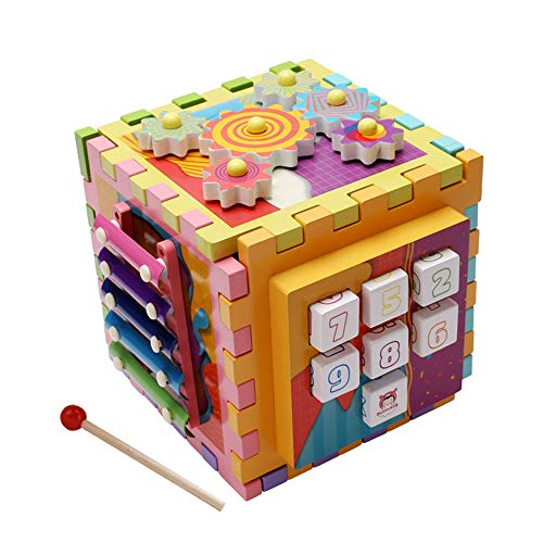 Jouets pour tout-petits Éducation Les enfants tout-petits Bébé Activité Jouet Cube Play Center featues Shape Tri Slots Gears Cadeau de jeu éducatif ( Color : Multi-colored , Size : Free size )