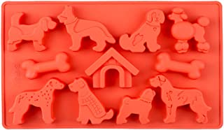 Fewo 11-Cavity Dogs Bones & Kennel Chocolate Candy Gummy Mold, Puppy Doghouse Silicone Ice Cube Tray Homemade Dog Treat Ba...