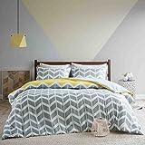Urban Habitat - Nadia - Juego de cama con estampado geométrico chevron, gris, amarillo y blanco, en microfibra, para cama doble o individual, Grau-gelb, 230x220cm+50x75cm