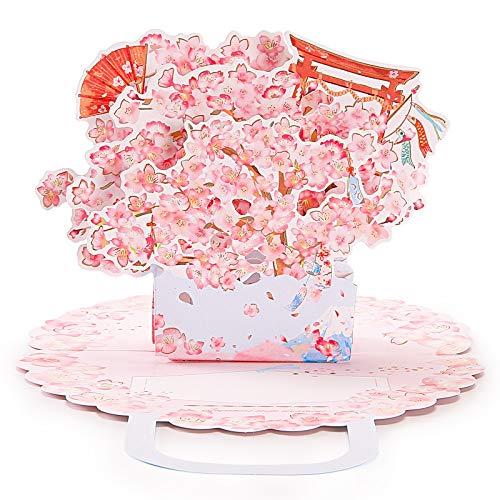 ZIIDOO Pop Up Karte, Popup Muttertagskarte Für Frauen, 3D Blumen Geburtstagskarte Glückwunschkarte Als Hochzeitstag Geburtstag Graduierung Geschenk ( Pink,Sakura )