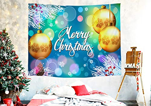 Yorcoten Xmas Tapestry Wall Hanging Decoration for Living Room Bedroom Dorm Christmas Photography Backdrop-Psychedelic and Golden Balls and Pine Branches Pattern Party Decor Presents S