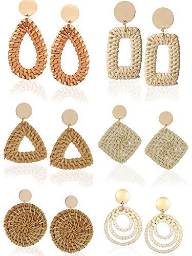 Trounistro Woven Rattan Tassel Earrings Tassel Hoop Earrings Bohemian Geometric Statement Drop Earrings for Women Girl(Color style 2,6 Pairs)