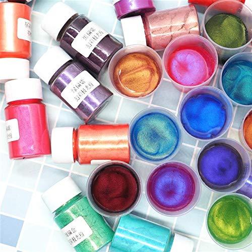 VIAIA 22 Botellas UV Époxi Resina Pigmento Sinfonía Aurora Polvo Pigmentos Pigmentos Dye DIY Epoxi Resina Artesanía Dyestuff Colorant (Color : 22colors)