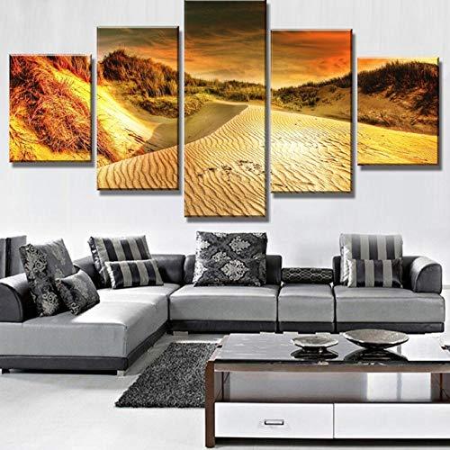 Wslin canvas afdrukken 5 stuks canvas schilderkunst strand duinen landschap canvas muurkunst wooncultuur voor woonkamer uniek geschenk wandschilderij afdrukken op canvas 200 x 100 cm
