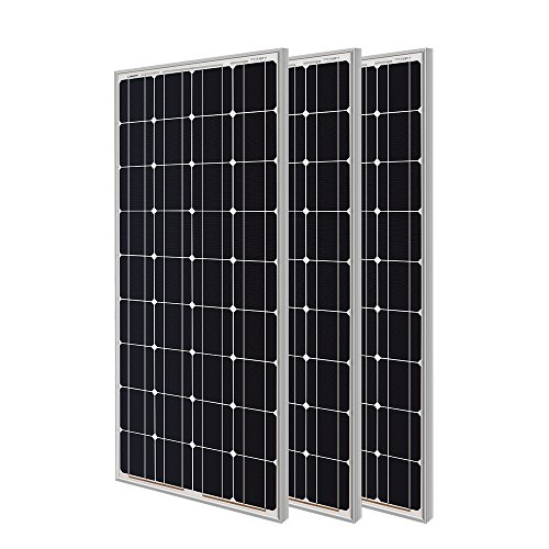 Renogy 3 Pieces 100W Monocrystalline Photovoltaic PV Solar Panel Module, 12V Battery Charging