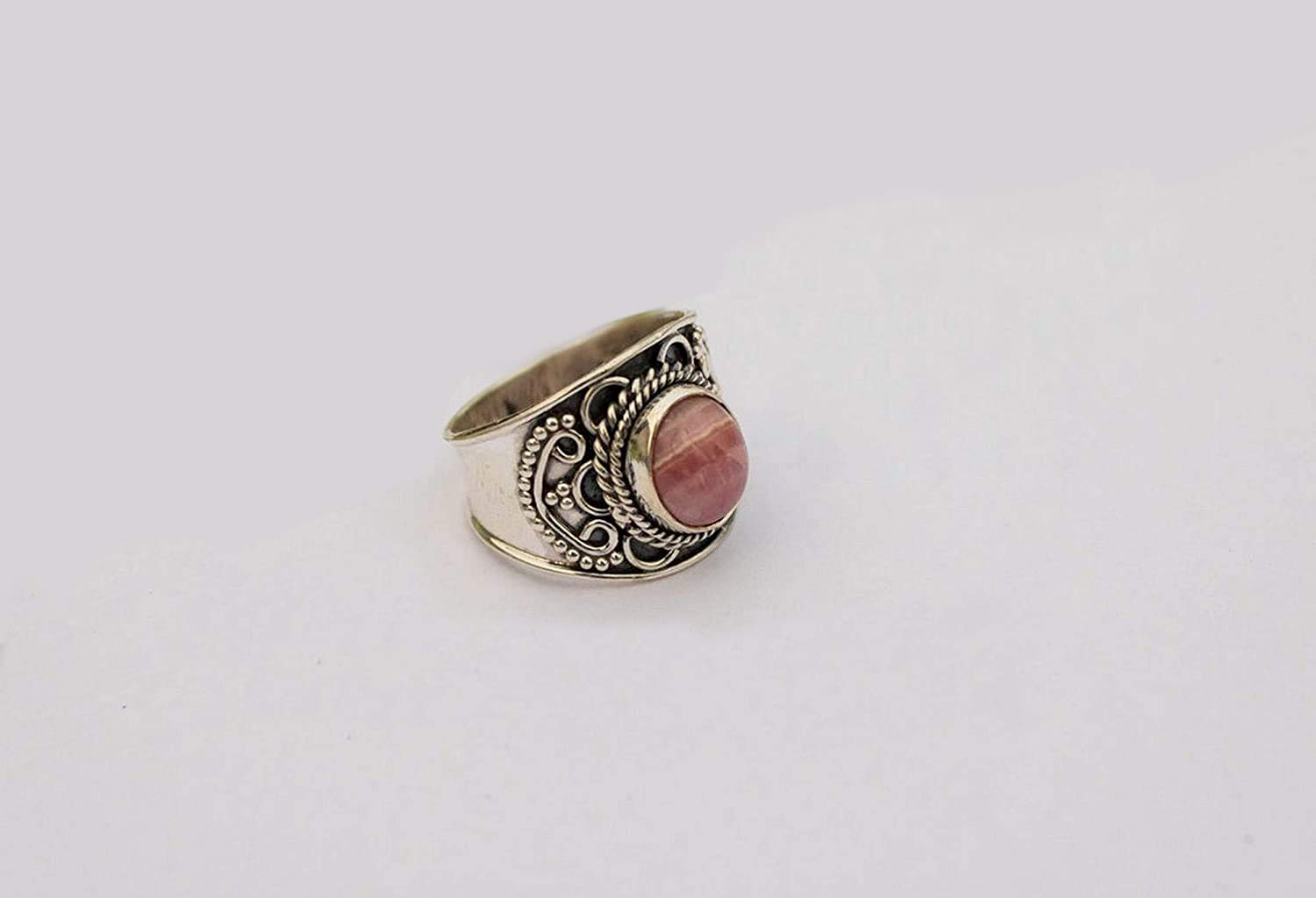 Rhodochrosite Max 52% OFF Milwaukee Mall Ring Sterling Jewelry Silver