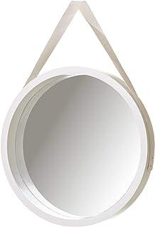 Espejo de Pared nórdico Blanco de PU para salón de 40 cm