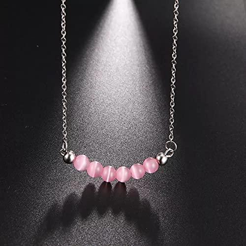 2 Piezas Moda Collar Joyas Gargantilla Collar de bola pequeña de perlas de imitación rosadas y blancas, regalo de Boho Bohemia de acero inoxidable para mujer, niña, joyería de cadena para amantes