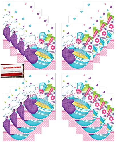 (16 Pack) Little Top Chef Cooking Birthday Party Plastic Loot Treat Candy Favor Bags (Plus Party Planning Checklist by Mikes Super Store)