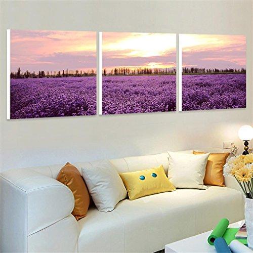 50 * 50 * 2.5 cm Salon Minimaliste Moderne Peinture Triple sans Cadre Violet Peinture Chambre Peinture canapé Fond Mur Paysage