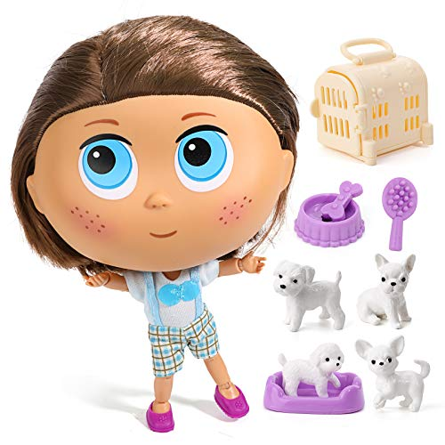 Kaibibi Doll with Big Head Small Body and Doggy Playset, Gift for 3 to 7 Year Olds (Doggy Set)