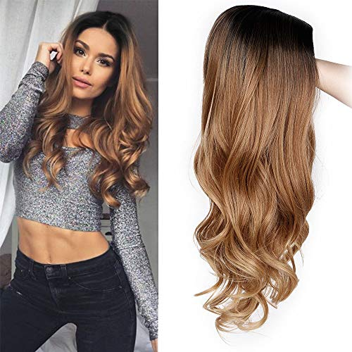 AISI QUEENS Ombre Wig for Women Long Brown Curly Synthetic Party Wigs Middle Part Wavy wigs Heat Resistant Fiber