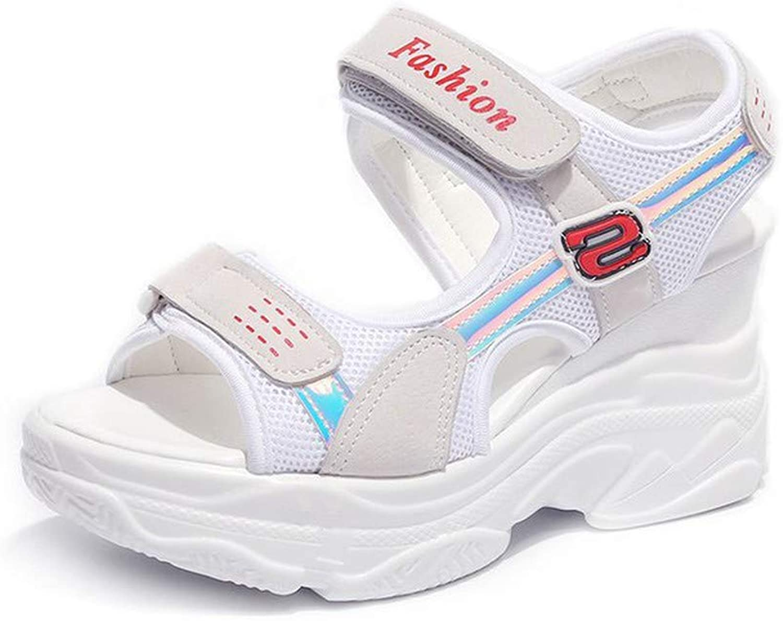 DBQWTY Summer Women's net Cloth Slope Heel Sandals to Work Height Sandals