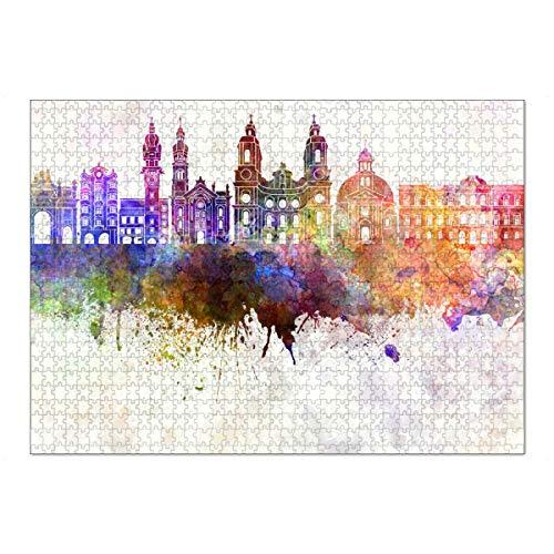 artboxONE Ravensburger-Puzzle XL (1000 Teile) Städte Innsbruck Skyline in Watercolor