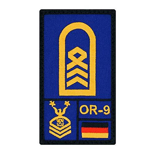 Café Viereck ® Oberstabsbootsmann Marine Bundeswehr Rank Patch mit Dienstgrad - Gestickt mit Klett – 9,8 cm x 5,6 cm (blau)
