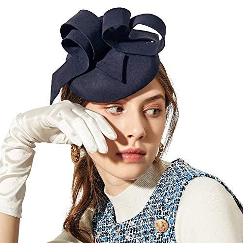 Deevoov Sinamay Hochzeit Blau Fascinator für Frauen Mädchen Mode Schleifen Abnehmbar Stirnband Rennen königlich Ascot Bunker Cocktail Party Derby Hut