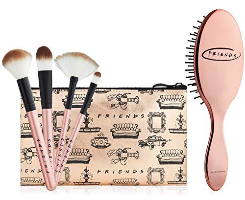 Friends Make Up Tasche, Schmink Pinsel Haarbürste Damen und Kulturtasche Mädchen Set, Kulturbeutel Mädchen Kosmetiktasche Klein, Geschenke für Mädchen