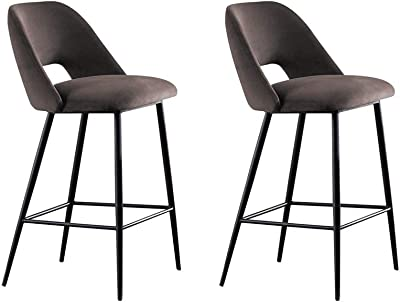 Bar Stools,Set Exterior Kitchen with Backrest and Footrest,Bar Chairs Breakfast Dining Stools for Counter Bar Stools Set of 2 (Color : Gray, Size : 68cm)