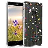 kwmobile Hülle kompatibel mit Huawei P10 Lite - Hülle Handy - Handyhülle - Wildblumen Ranke Mehrfarbig Transparent