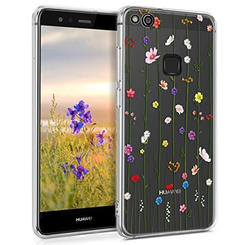 kwmobile Cover Compatibile con Huawei P10 Lite - Custodia in Silicone TPU - Back Case Cover Protettiva Cellulare Esplosione Primaverile Multicolore/Trasparente