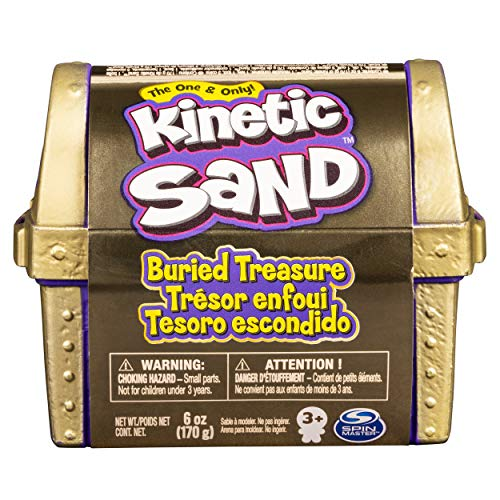 Kinetic Sand, Buried Treasure Playset with 170g of Kinetic Sand and Surprise Hidden Tool (Style May Vary)