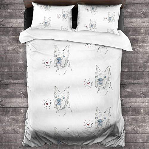 Grits The Boxer - Juego de cama de 3 piezas (86 x 70 cm), diseño de funda de edredón súper suave y cálido, juego de cama Queen con 2 fundas de almohada