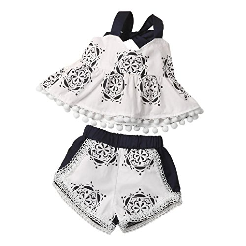 Robe de Princesse Fille,Manadlian BéBé Fille Vêtements Ensemble Impression Gland Top Chemise + Shorts (Blanc, 12 Mois)