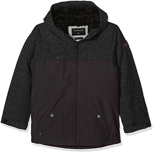 Quiksilver Jungen Youth Wanna DWR - Water-Repellent Hooded Jacket, Tarmac, M/12