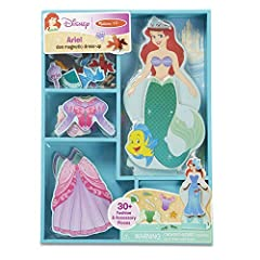ARIEL DRESS-UP SET: The Melissa & Doug Disney Ariel Magnetic Dress-Up Wooden Doll Pretend Play Set includes one wooden play figure, a variety of magnetic clothing pieces and accessories, and doll stand. MIX-AND-MATCH OUTFITS: Mix-and-match 30+ sturdy...