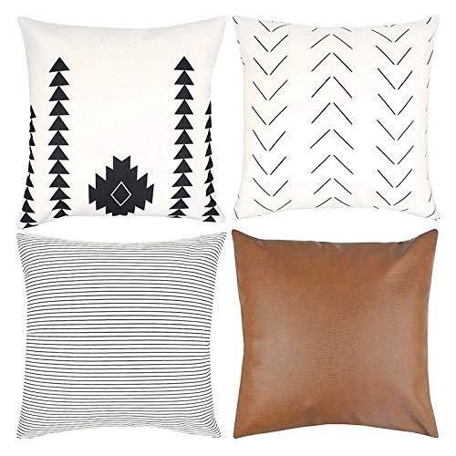Xijiang - Juego de fundas de almohada decorativas para sofá, sofá o cama, 4 x 18 pulgadas, diseño moderno de rayas de felpa cortas geométricas, 4 unidades