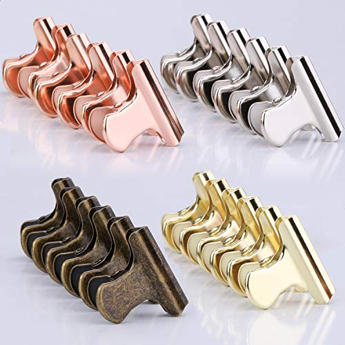 Laigoo Metal Paper Clips, 24 Pack Heavy Duty Hinge Clips - 1.18inch Bulldog Clips Bag/Chip Clips for Paper Organizers, Photos Wall Decoration, Home Kitchen Office School Supplies (4 Fun Color)