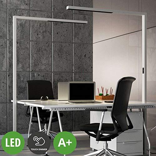 Lampenwelt LED Stehlampe 'Jolinda' (inkl. Touchdimmer) dimmbar (Modern) in Alu aus Aluminium u.a. für Arbeitszimmer & Büro (A+, inkl. Leuchtmittel) - Büro-Stehleuchte, Bürolampe, Floor Lamp