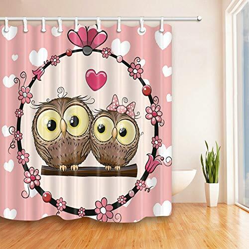 XCBN Cortina de baño Linda de Dibujos Animados Cortina de Ducha de Tela Impermeable con Estampado 3D Gato Perro búho Cortina de bebé para baño A4 90x180cm