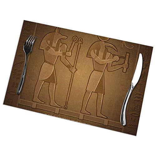 Hui-Shop Estera de vajilla egipcia Antigua, Juego de manteles Individuales de 6, manteles Individuales para refrigerios, manteles Individuales para Bebidas