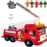 Toy Fire Truck with Lights and Sounds - 4 Sirens - Big Folding Ladder - Powerful Friction Wheels - Large Red Play Fire Engine Firetruck for Kids Toddlers Boys & Girls - Bonus: 5 Toy Figures