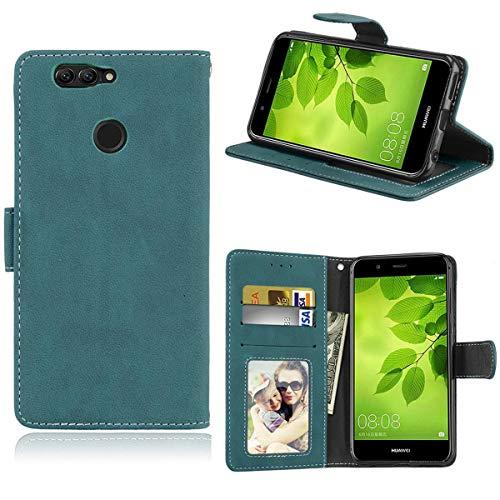 Sangrl Lederhülle Schutzhülle Für Huawei Nova 2 Plus, PU-Leder Klassisches Design Wallet Handyhülle, Mit Halterungsfunktion Kartenfächer Flip Hülle Blau