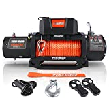 ZESUPER 9500 lbs Capacity Electric Winch Kit Waterproof IP67 Electric Winch Hawse Fairlead, with Both Wireless Handheld Remote and Corded Control Recovery Synthetic Rope