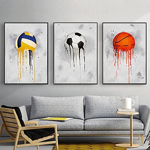 BIGSHOPART Fútbol Baloncesto Voleibol Bolos Tenis Deportes Serie Lienzo Pintura Arte de la Pared Cuadros Niños Sala Decoración del Hogar Posters/30x40cmx3 Sin Marco