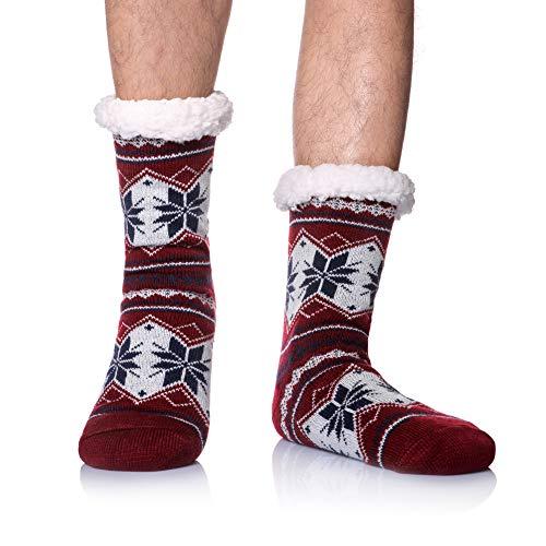 Men's Winter Thermal Fleece Lining Knit Slipper Socks Christmas Non Slip Socks (Red B)