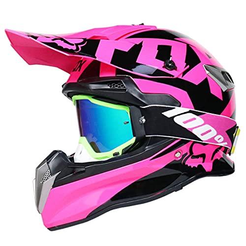 Casco de motocross para niños, Casco MTB integral para adulto, Casco todoterreno con diseño de Fox, Certificación DOT y ECE (Gafas/Guantes)