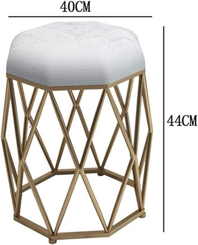 QingT Tabouret de Pansement Simple Moderne/Tabouret de Maquillage/Chaise de Dos de Fille Nordique à la Maison-Bleu Clair Noir Vert foncé doré