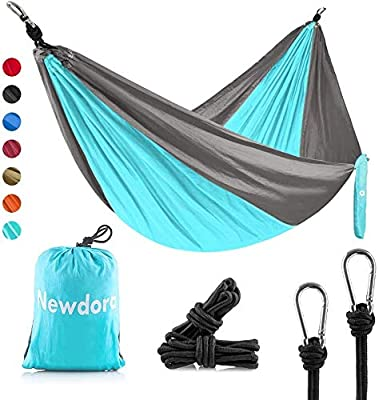 """Newdora Hammock Double with Tree Straps, Lightweight Portable Nylon Parachute Double Hammock for Backpacking, Camping, Travel, Beach, Yard. 105""""(L) x 56""""(W)"""