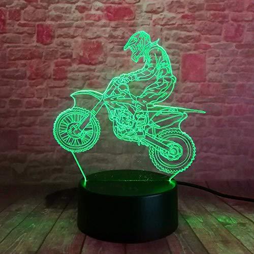 La ilusión óptica de la lámpara 3d de wangZJ llevó la luz de la noche / 7 lámparas de los colores/la decoración casera/el regalo de los niños/el cumpleaños de navidad/la motocicleta