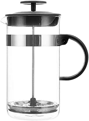 Zarif International French Press Coffee Maker, Heat Resistant Borosilicate Glass Pot,304 Stainless-Steel Plunger and Mesh Filter, BPA Free Plastic Handle and Lid, 6 Cups/28 oz(800ml)